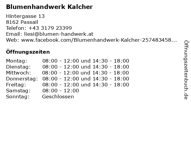 Blumenhandwerk Kalcher in Passail: Adresse und Öffnungszeiten