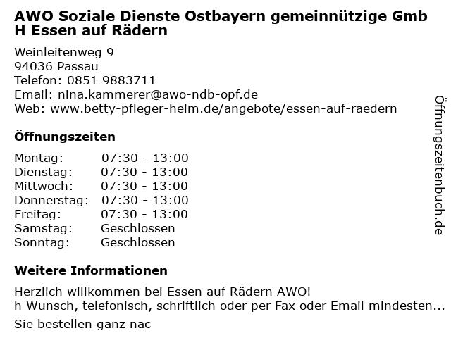 AWO Soziale Dienste Ostbayern gemeinnützige GmbH Essen auf Rädern in Passau: Adresse und Öffnungszeiten