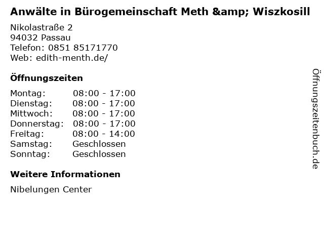 Anwälte in Bürogemeinschaft Meth & Wiszkosill in Passau: Adresse und Öffnungszeiten