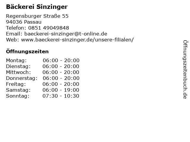 Bäckerei Sinzinger in Passau: Adresse und Öffnungszeiten