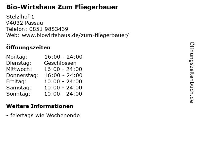 Bio-Wirtshaus Zum Fliegerbauer in Passau: Adresse und Öffnungszeiten