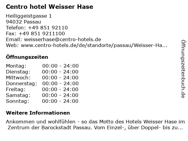 Centro hotel Weisser Hase in Passau: Adresse und Öffnungszeiten