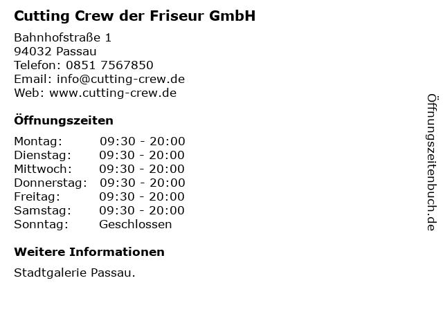 Cutting Crew der Friseur GmbH in Passau: Adresse und Öffnungszeiten