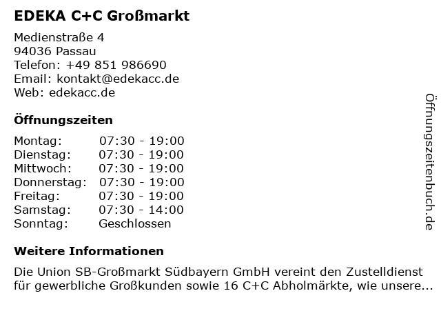 ᐅ öffnungszeiten Edeka Cc Großmarkt Medienstraße 4 In Passau
