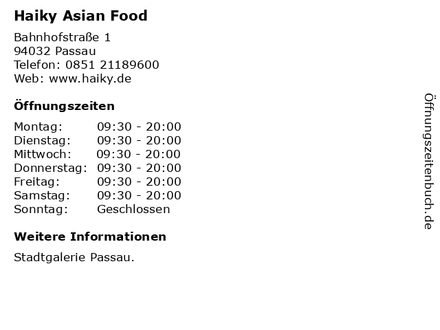 Haiky Asian Food in Passau: Adresse und Öffnungszeiten