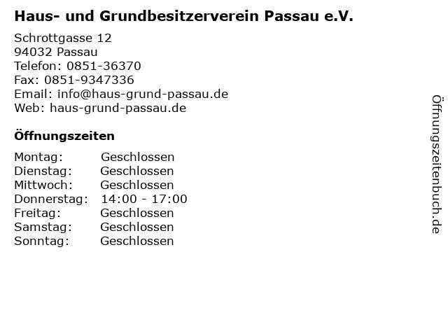 ᐅ öffnungszeiten Haus Und Grundbesitzerverein Passau Ev