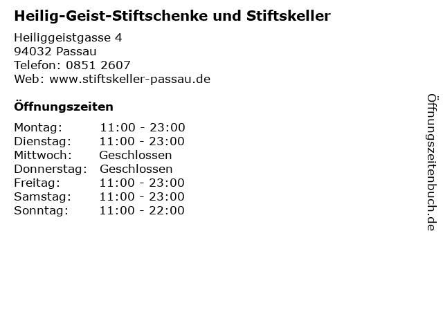 Heilig-Geist-Stiftschenke und Stiftskeller in Passau: Adresse und Öffnungszeiten