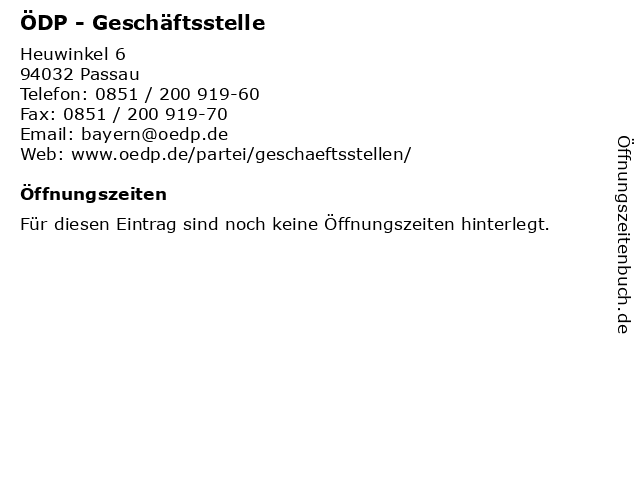 ÖDP - Geschäftsstelle in Passau: Adresse und Öffnungszeiten
