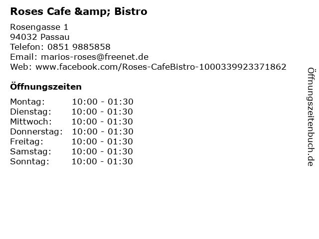 Roses Cafe & Bistro in Passau: Adresse und Öffnungszeiten