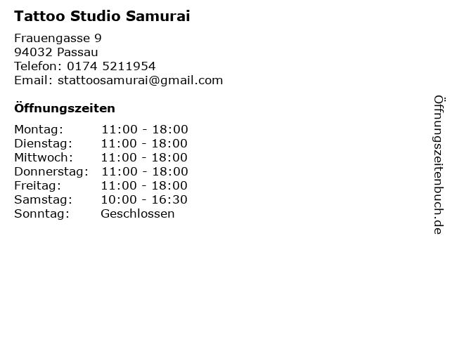 Tattoo Studio Samurai in Passau: Adresse und Öffnungszeiten