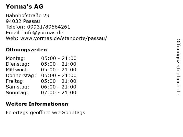 Yorma's AG in Passau: Adresse und Öffnungszeiten