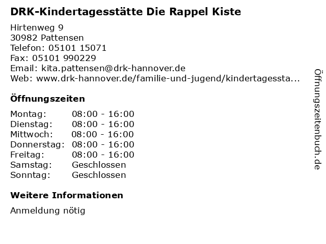 DRK-Kindertagesstätte Die Rappel Kiste in Pattensen: Adresse und Öffnungszeiten
