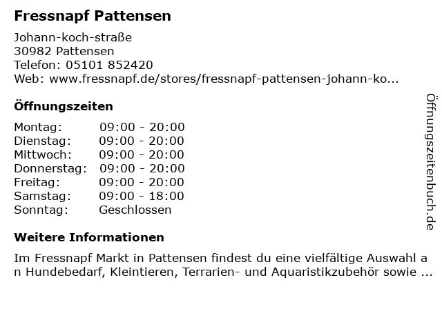 Fressnapf Pattensen Johann Koch Straße in Pattensen: Adresse und Öffnungszeiten