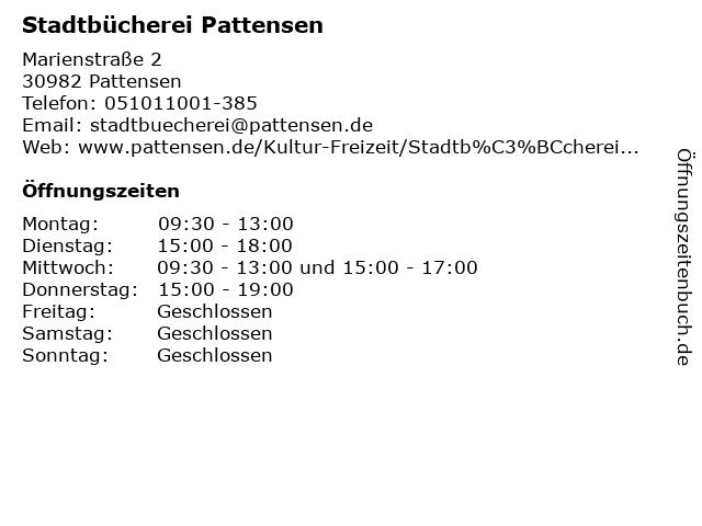 Stadtbücherei Pattensen in Pattensen: Adresse und Öffnungszeiten