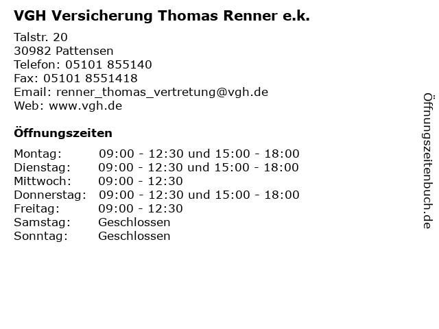 VGH Versicherung Thomas Renner e.k. in Pattensen: Adresse und Öffnungszeiten