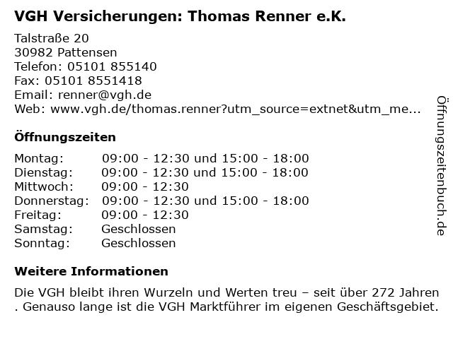 VGH Versicherungen: Thomas Renner e.K. in Pattensen: Adresse und Öffnungszeiten