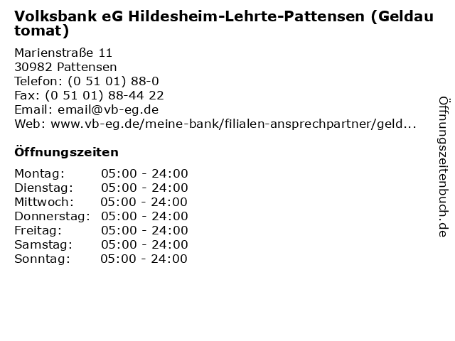 Volksbank eG Hildesheim-Lehrte-Pattensen (Geldautomat) in Pattensen: Adresse und Öffnungszeiten