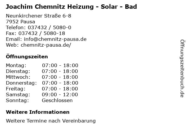 Joachim Chemnitz Heizung - Solar - Bad in Pausa: Adresse und Öffnungszeiten