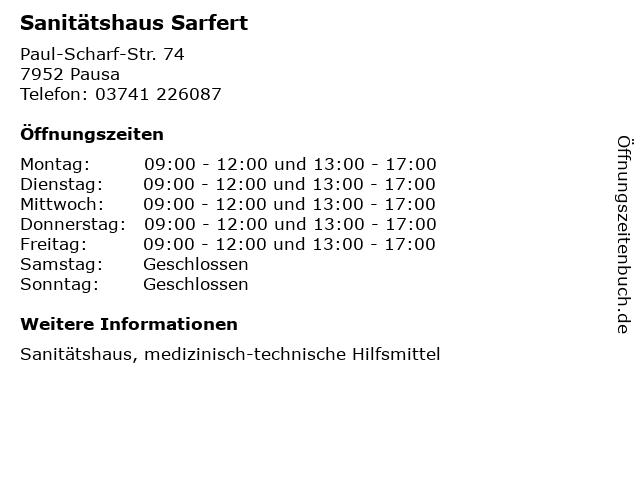 Sanitätshaus Sarfert in Pausa: Adresse und Öffnungszeiten