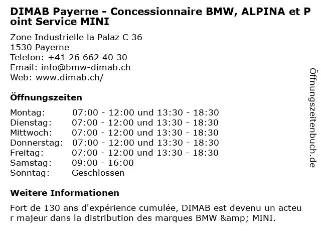 DIMAB Payerne - Concessionnaire BMW, ALPINA et Point Service MINI in Payerne: Adresse und Öffnungszeiten