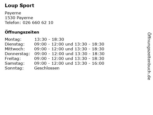 Loup Sport in Payerne: Adresse und Öffnungszeiten