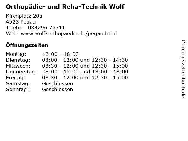Orthopädie- und Reha-Technik Wolf in Pegau: Adresse und Öffnungszeiten