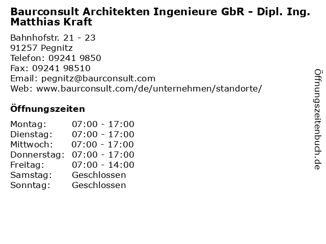 Baurconsult Architekten Ingenieure GbR in Pegnitz: Adresse und Öffnungszeiten