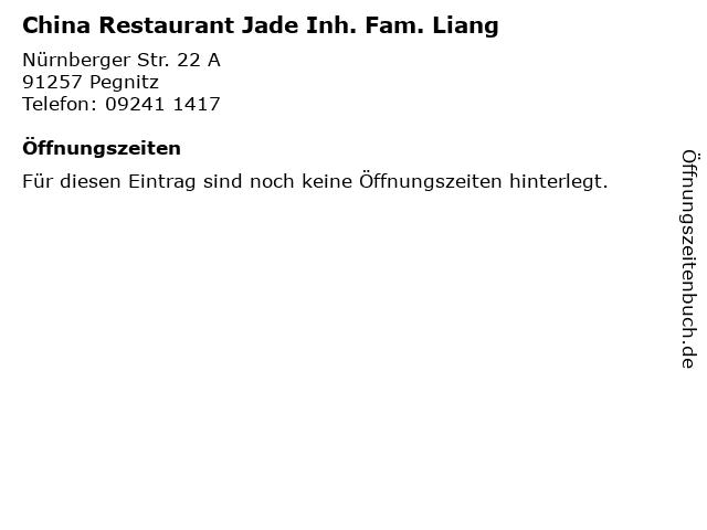 China Restaurant Jade Inh. Fam. Liang in Pegnitz: Adresse und Öffnungszeiten