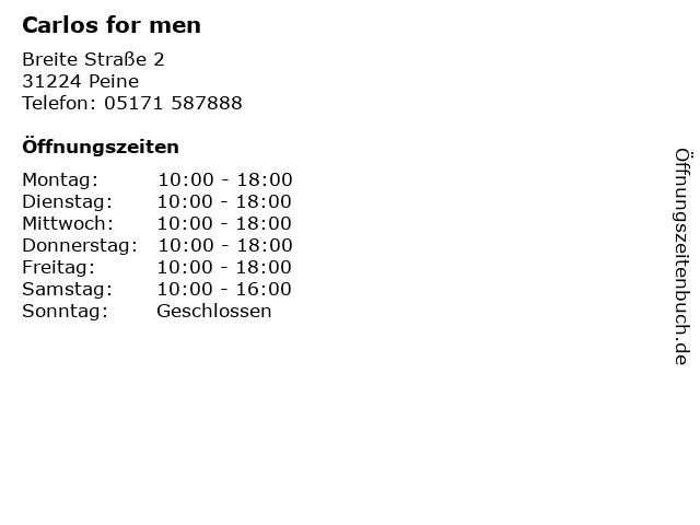 Carlos for men in Peine: Adresse und Öffnungszeiten