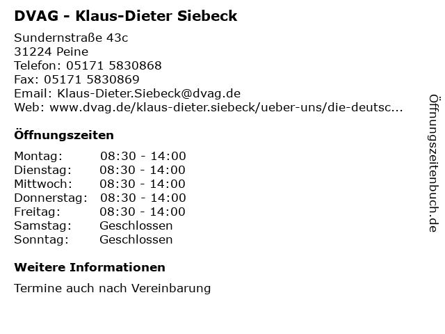 DVAG - Klaus-Dieter Siebeck in Peine: Adresse und Öffnungszeiten