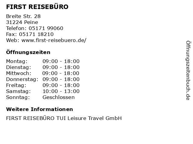FIRST REISEBÜRO in Peine: Adresse und Öffnungszeiten