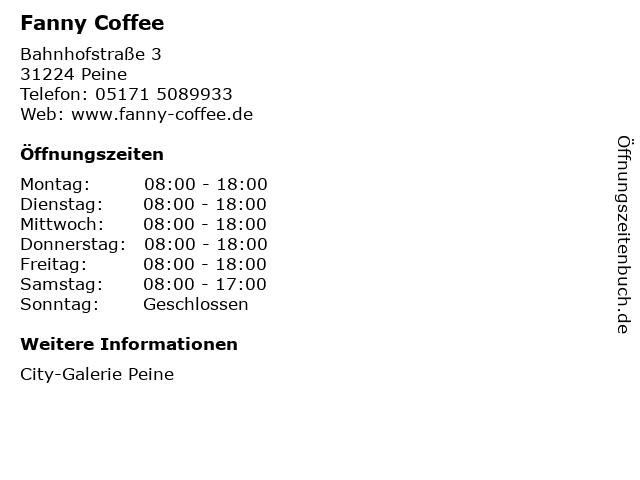 Fanny Coffee in Peine: Adresse und Öffnungszeiten