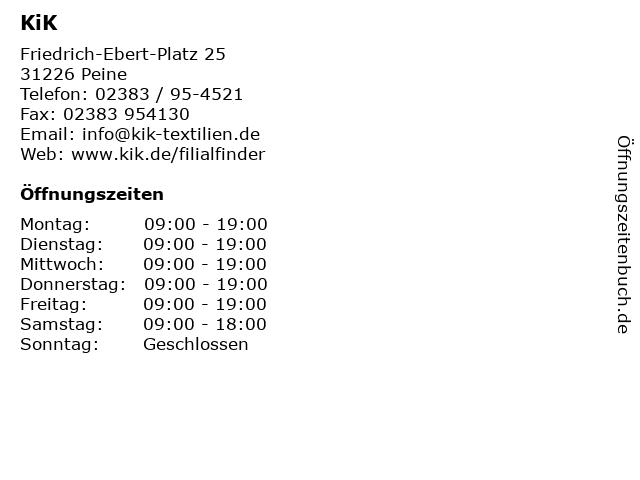 KiK Textilien & Non-Food GmbH in Peine: Adresse und Öffnungszeiten
