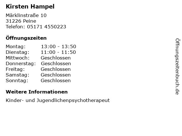 Kirsten Hampel in Peine: Adresse und Öffnungszeiten