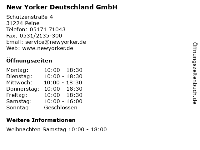 New Yorker Deutschland GmbH in Peine: Adresse und Öffnungszeiten