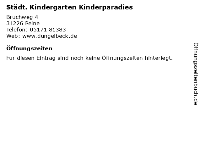 Kinderparadies in Peine: Adresse und Öffnungszeiten