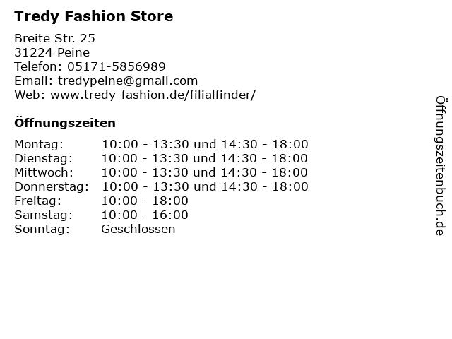 Tredy Fashion Store in Peine: Adresse und Öffnungszeiten