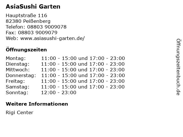AsiaSushi Garten in Peißenberg: Adresse und Öffnungszeiten