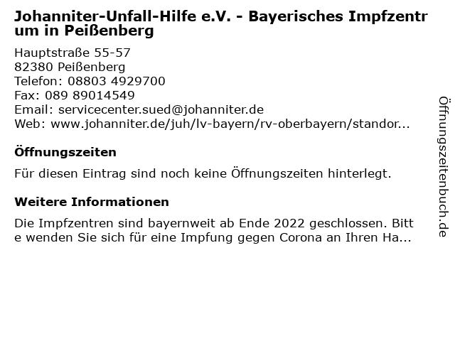 Corona Impfzentrum in Peißenberg: Adresse und Öffnungszeiten