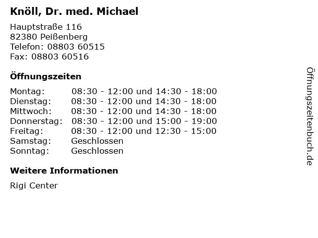 Knöll, Dr. med. Michael in Peißenberg: Adresse und Öffnungszeiten