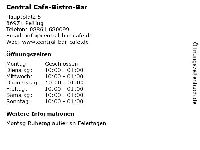 Central Cafe-Bistro-Bar in Peiting: Adresse und Öffnungszeiten