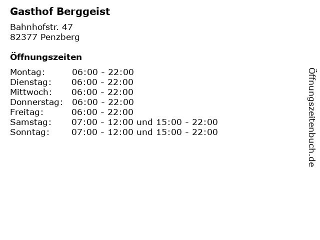 Gasthof Berggeist in Penzberg: Adresse und Öffnungszeiten