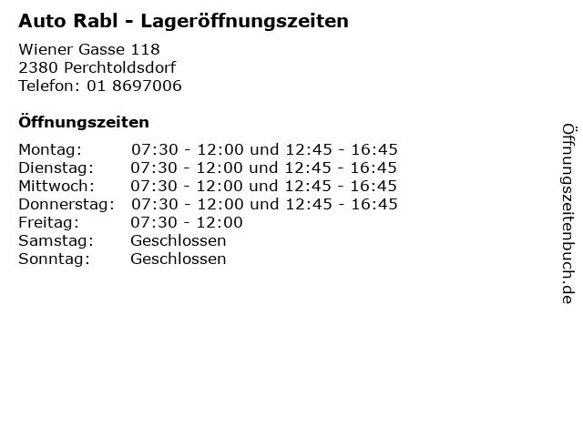 Auto Rabl - Lageröffnungszeiten in Perchtoldsdorf: Adresse und Öffnungszeiten