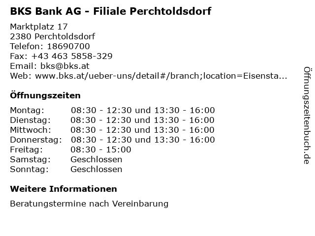 BKS Bank AG - Filiale Perchtoldsdorf in Perchtoldsdorf: Adresse und Öffnungszeiten