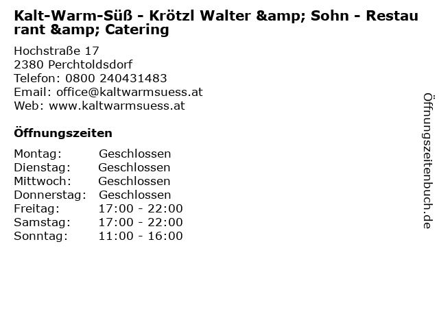 Kalt-Warm-Süß - Krötzl Walter & Sohn - Restaurant & Catering in Perchtoldsdorf: Adresse und Öffnungszeiten