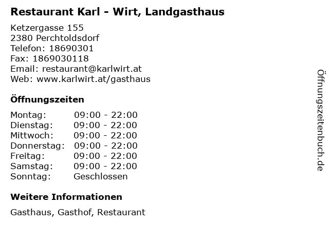 Restaurant Karl - Wirt, Landgasthaus in Perchtoldsdorf: Adresse und Öffnungszeiten