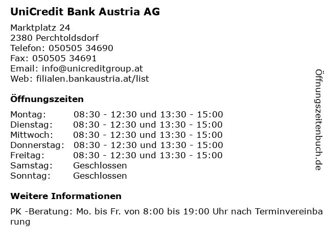 UniCredit Bank Austria AG in Perchtoldsdorf: Adresse und Öffnungszeiten