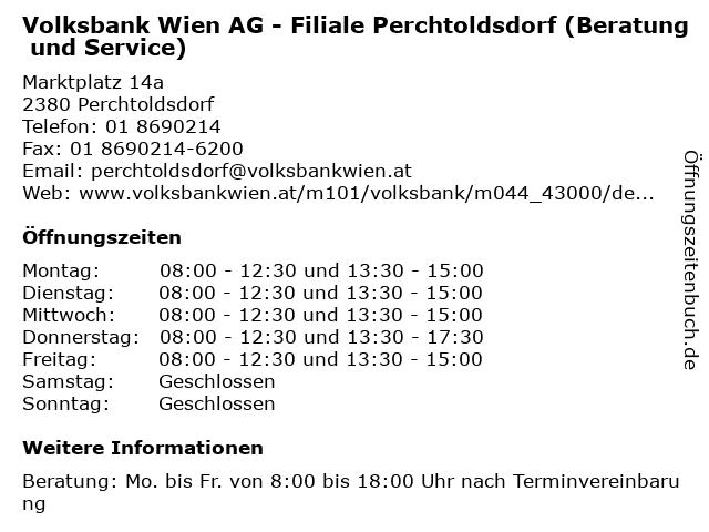 Volksbank Wien AG - Filiale Perchtoldsdorf (Beratung und Service) in Perchtoldsdorf: Adresse und Öffnungszeiten