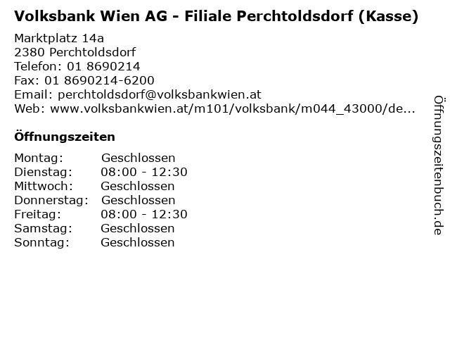Volksbank Wien AG - Filiale Perchtoldsdorf (Kasse) in Perchtoldsdorf: Adresse und Öffnungszeiten