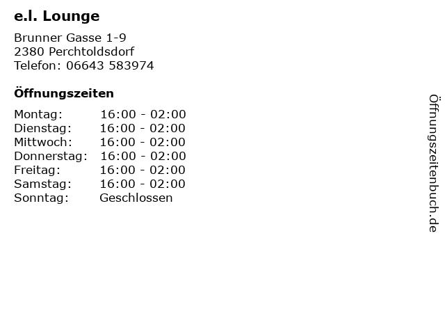 e.l. Lounge in Perchtoldsdorf: Adresse und Öffnungszeiten